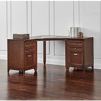 Harrison 3-pc Cognac Corner Desk Filing Suite