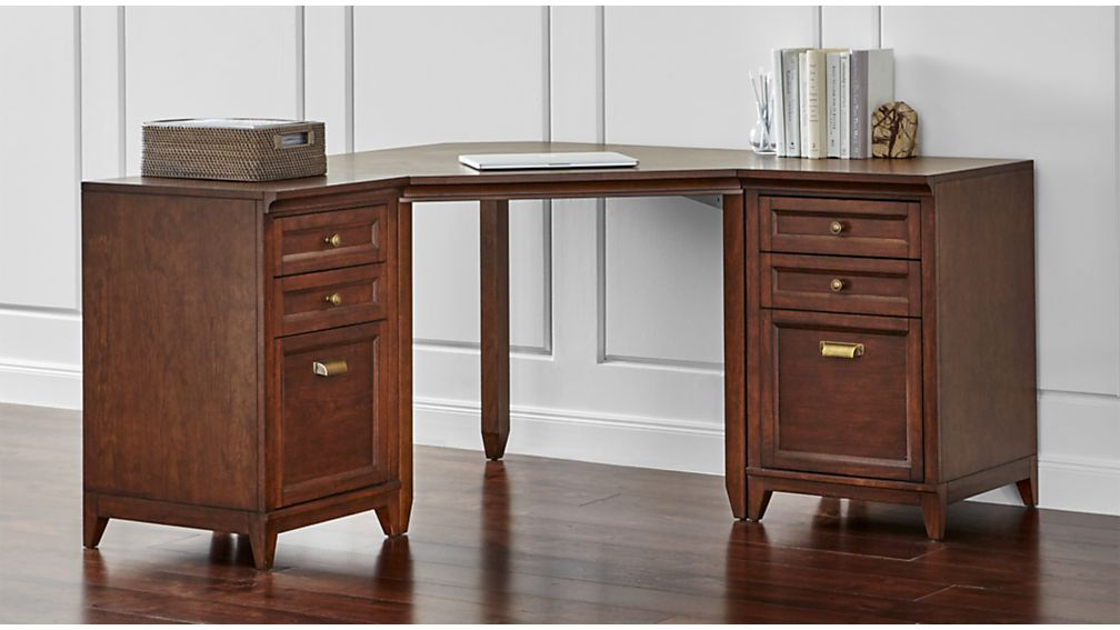 Harrison 3-pc Cognac Corner Desk Filing Suite