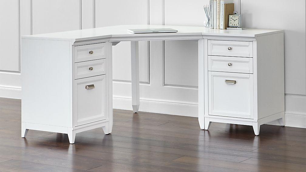 Harrison 3-Piece White Corner Desk Filing Suite