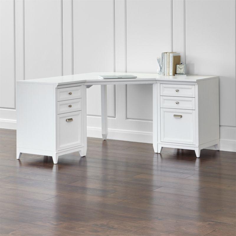 Harrison 3 Piece White Corner Desk Filing Suite