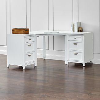 Harrison 3-Piece White Corner Desk Cabinet Suite