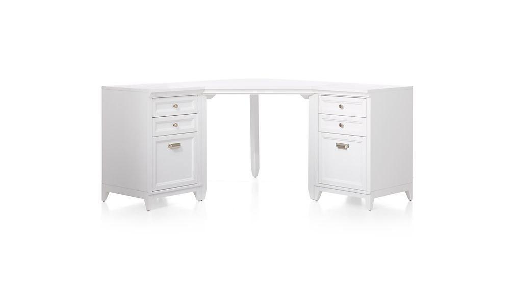 Harrison 3-Piece White Corner Desk Filing Suite