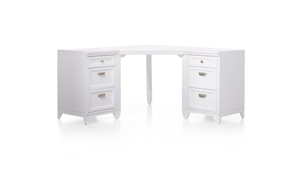 Harrison 3-Piece White Corner Desk Cabinet Suite