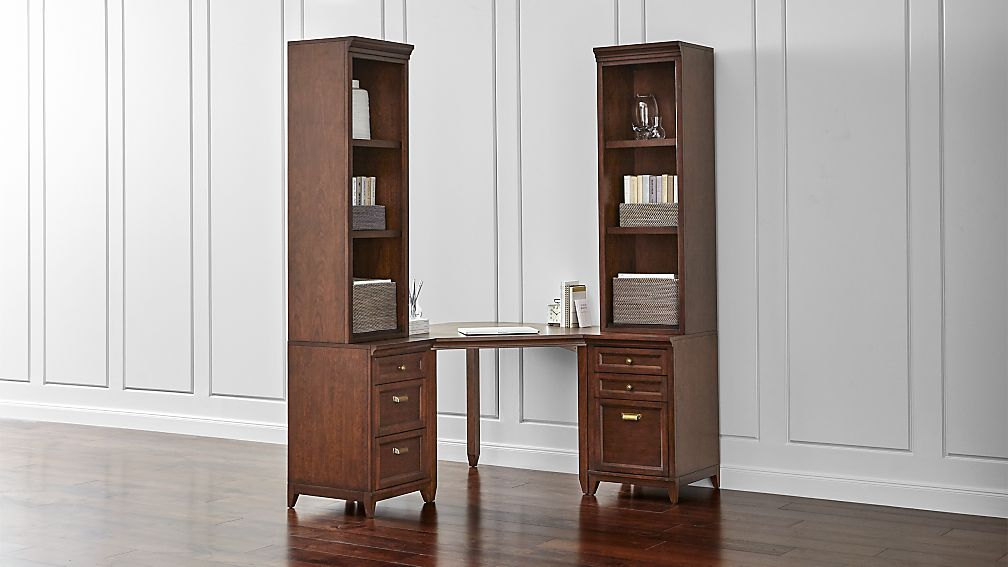 harrison 5-pc cognac corner desk office suite | crate and barrel