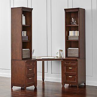 Harrison 5-pc Cognac Corner Desk Cabinet Suite
