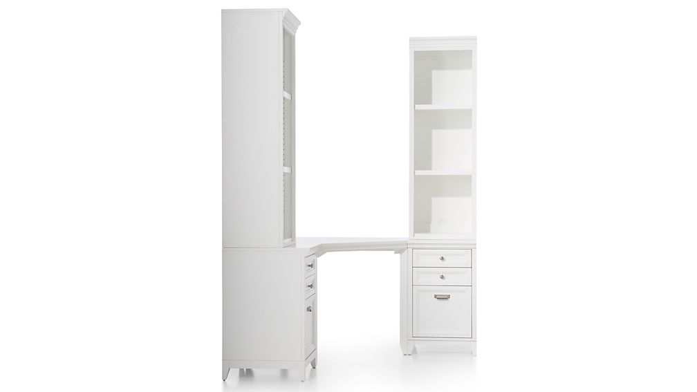 Harrison 5-Piece White Corner Desk Filing Suite