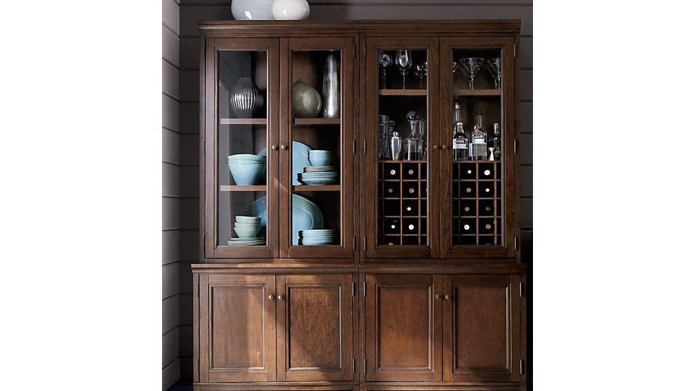 "Harrison 4-pc Cognac Modular Wall Unit/Glass Doors 72"""
