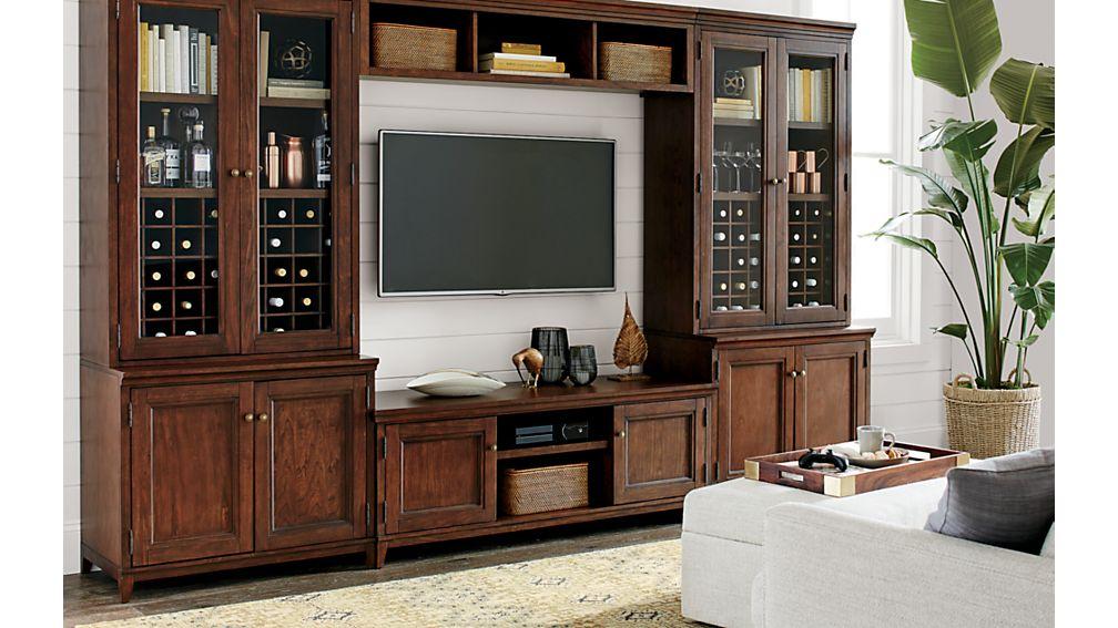 "Harrison 2-pc Cognac 36"" Bookcase with Glass Doors"