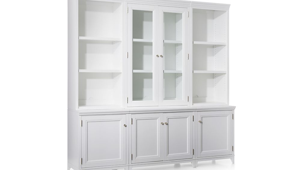 Harrison 6-pc White Modular Wall Unit/Glass Doors 84""