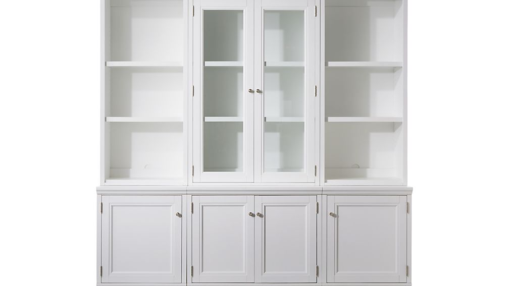 White Wall Unit harrison 6-pc white modular wall unit/glass doors 84"