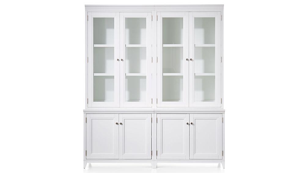 "Harrison 4-Piece White Modular Wall Unit/Glass Doors 72"""