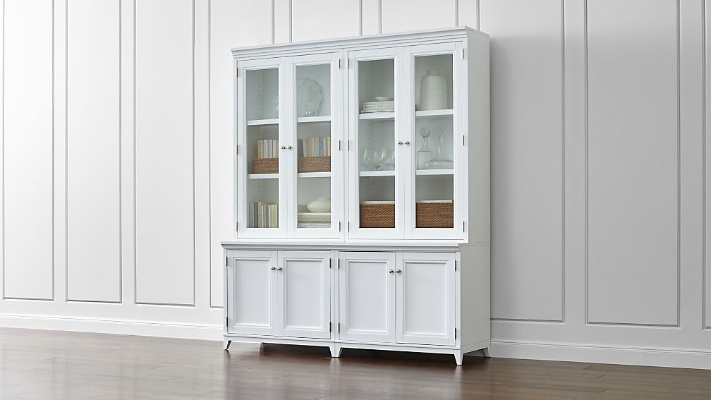 Harrison 4-Piece White Modular Wall Unit/Glass Doors 72""