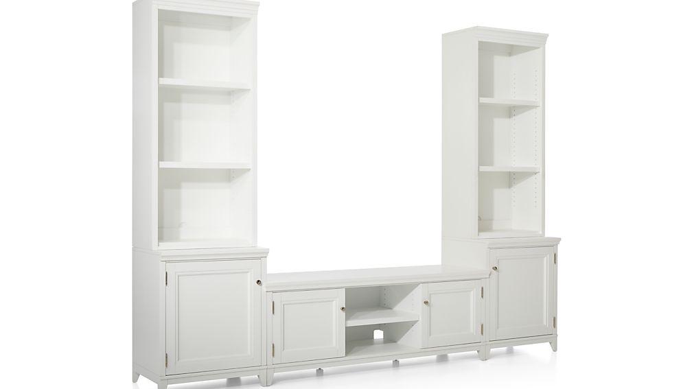 Harrison 5-Piece White Entertainment Center/Open Bookcases
