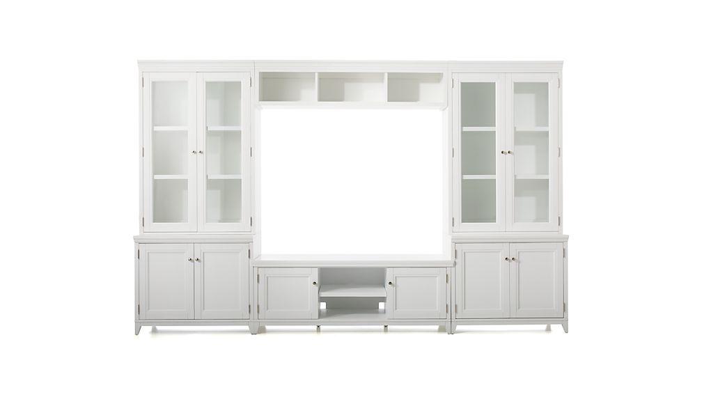 Harrison 6-pc White Entertainment Center/Glass Doors