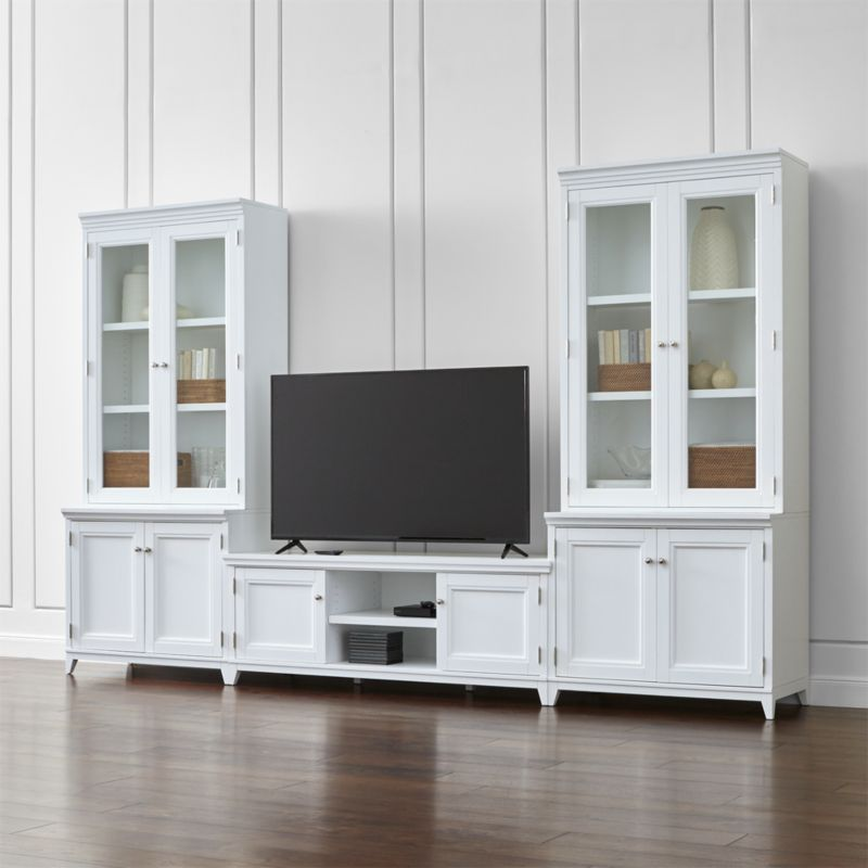 Harrison 5 Piece White Entertainment Center Glass Doors