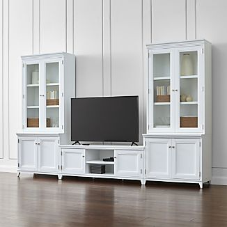 Harrison 5-Piece White Entertainment Center/Glass Doors
