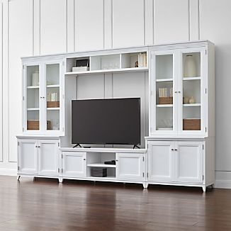 Harrison 6-pc White Entertainment Center/Glass Doors