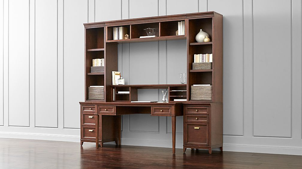 harrison 7-pc cognac modular home office | crate and barrel