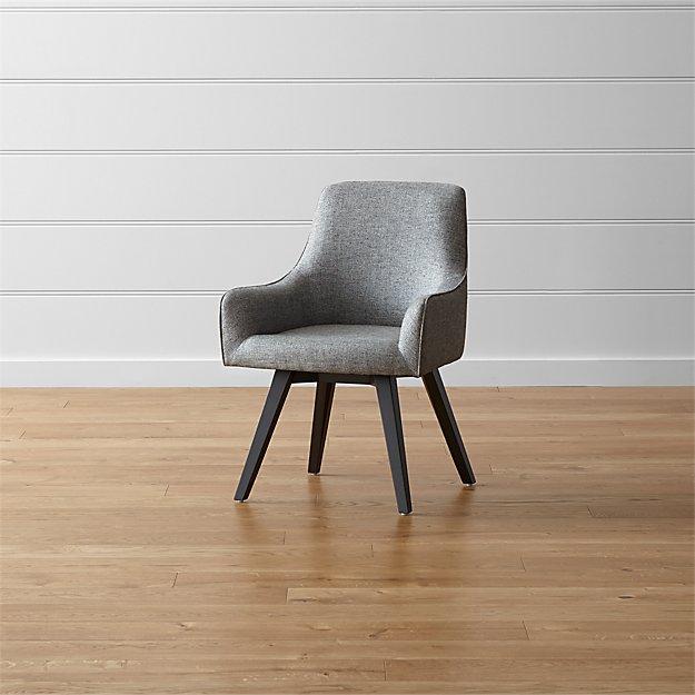 Harvey Black Swivel Armchair - Image 1 of 10