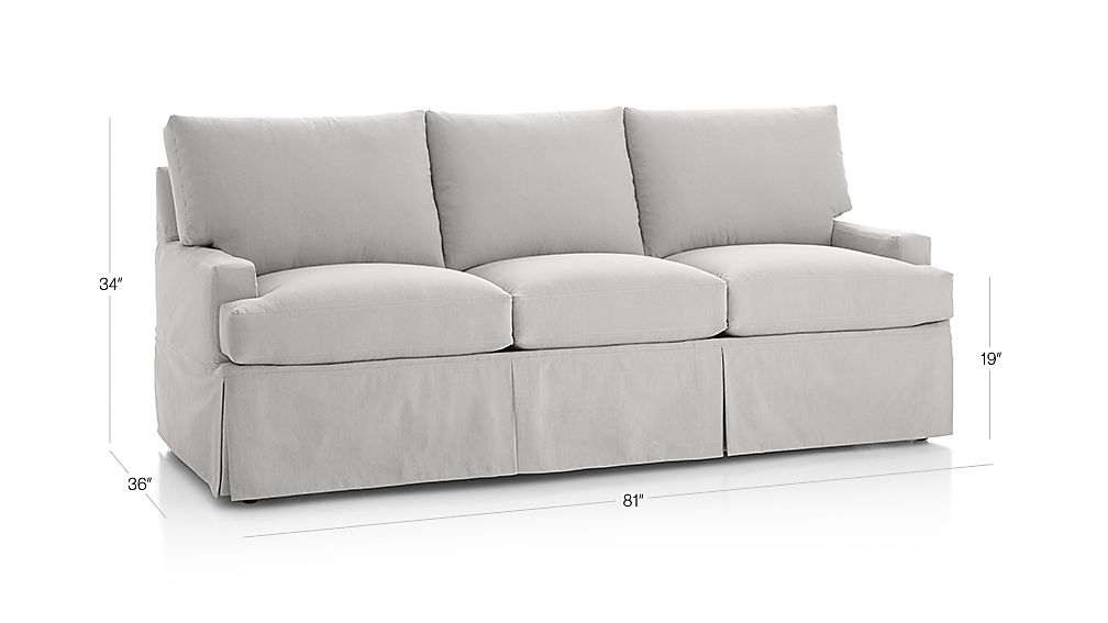 TAP TO ZOOM Image With Dimension For Hathaway Slipcovered Queen Sleeper Sofa