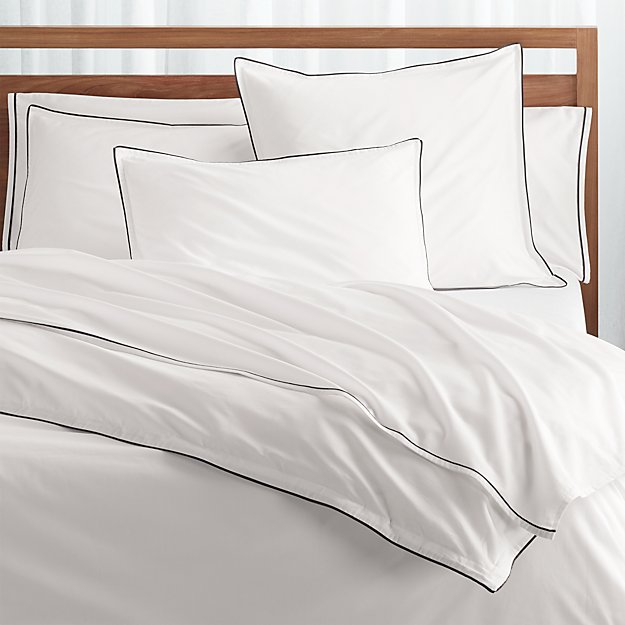 Haven Black Percale Duvet Covers and Pillow Shams - Image 1 of 3