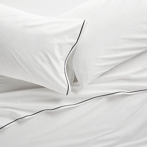Haven Black Percale Sheet Sets - Image 1 of 5