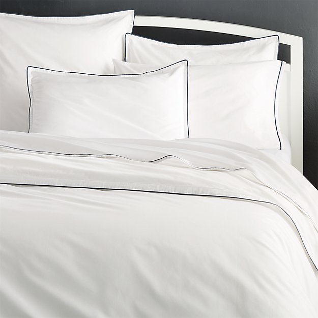 89812db48f Haven Blue Percale Duvet Covers and Pillow Shams | Crate and Barrel