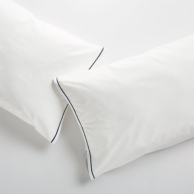 Haven Standard Blue Percale Pillowcases, Set of 2 - Image 1 of 10