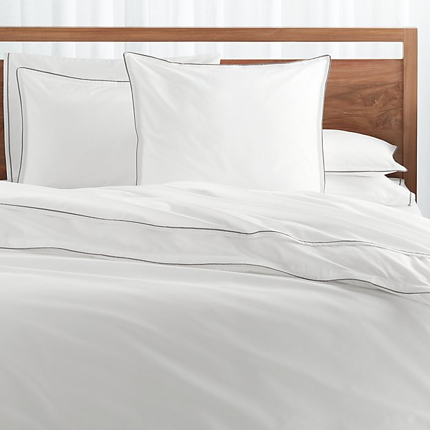 Haven Full/Queen Grey Percale Duvet Cover - Image 1 of 3