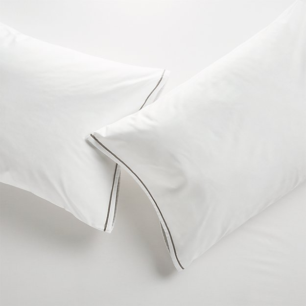 Haven Standard Grey Percale Pillowcases, Set of 2 - Image 1 of 10