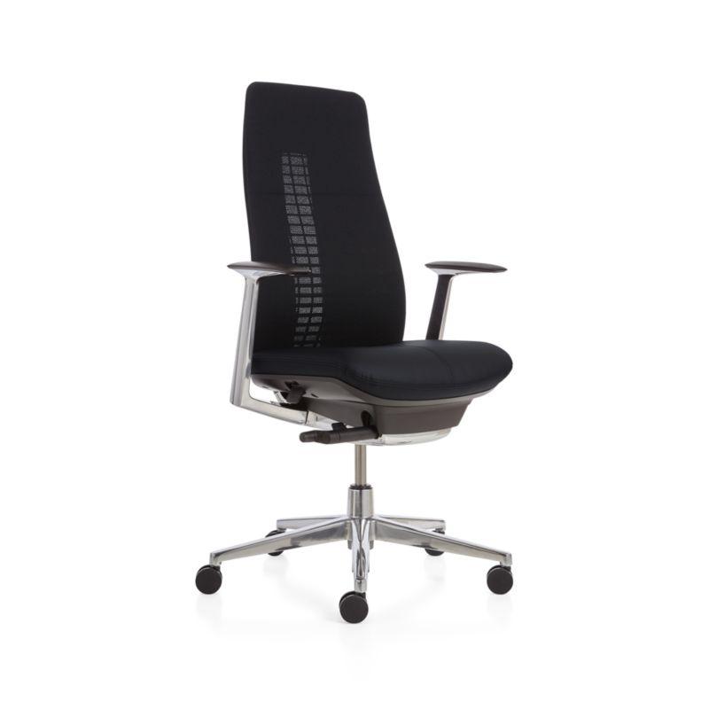 Haworth Black Fern High Back Desk Chair | Crate and Barrel