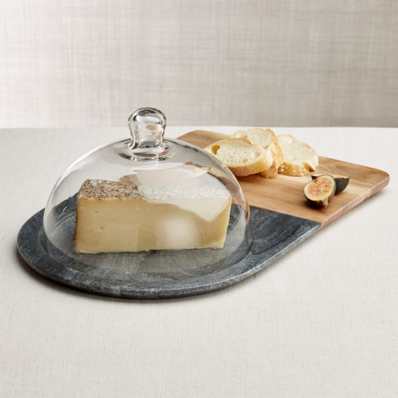 Hayes Marble And Wood Serving Board With Glass Dome