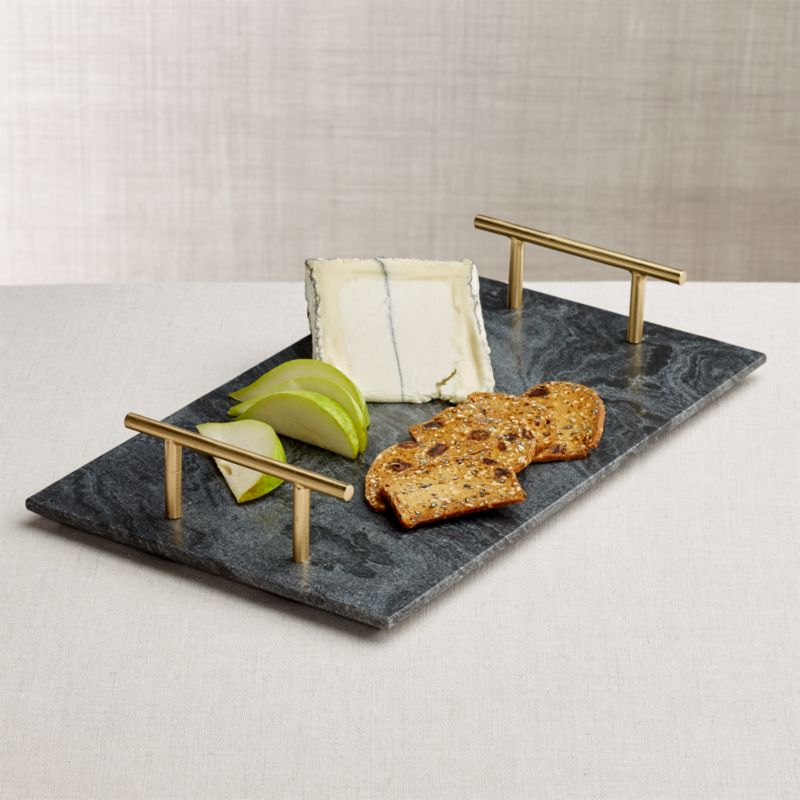 Charmant Hayes Marble Serving Board With Handles