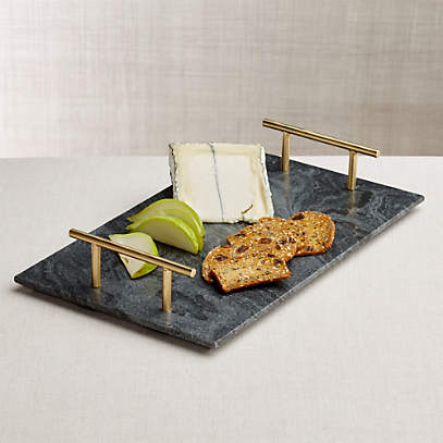 Hayes Marble Serving Board With Handles Reviews Crate And Barrel Canada