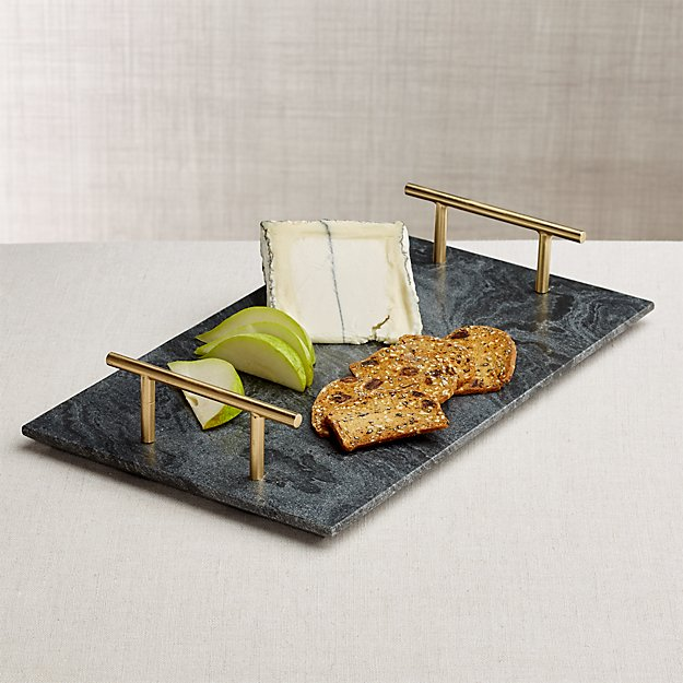 Hayes Marble Serving Board with Handles - Image 1 of 9