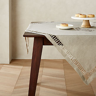 "Hazel 50"" Square Dark Natural Linen Table Throw"