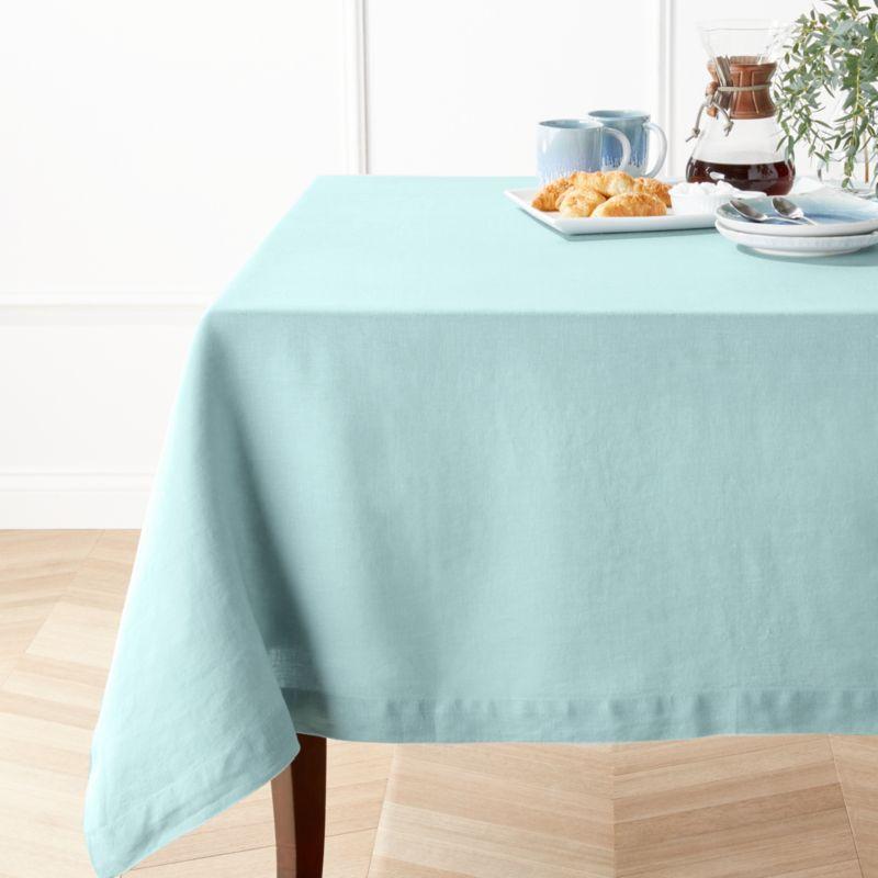 Helena Blue Mist Linen Tablecloth