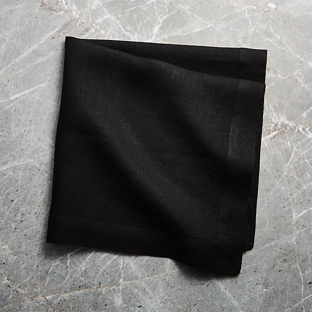 Helena Black Linen Dinner Napkin - Image 1 of 6