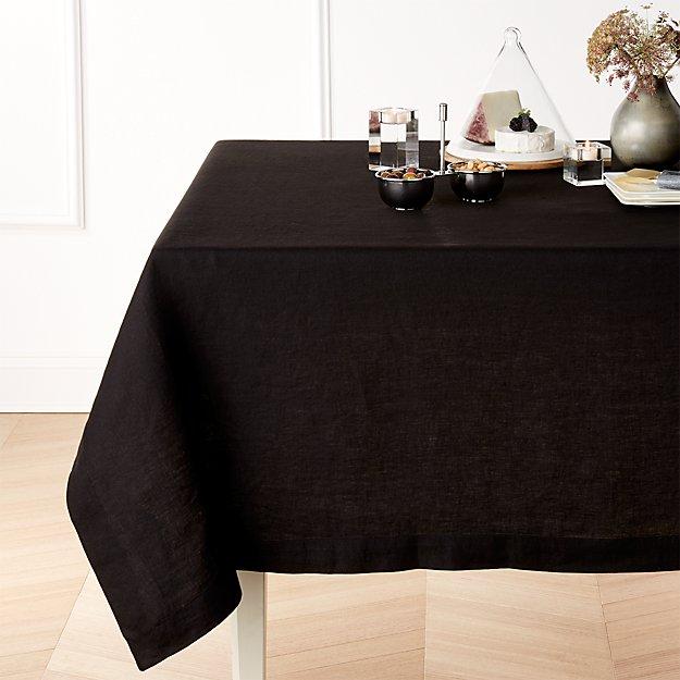 "Helena Black Linen 60""x90"" Tablecloth"