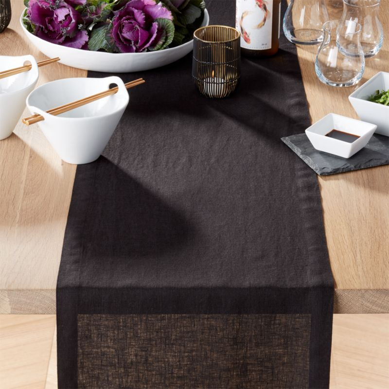 Helena black linen 90 table runner
