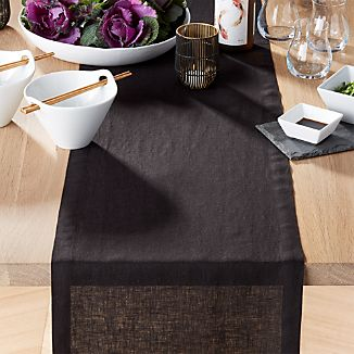 "Helena Black Linen 90"" Table Runner"