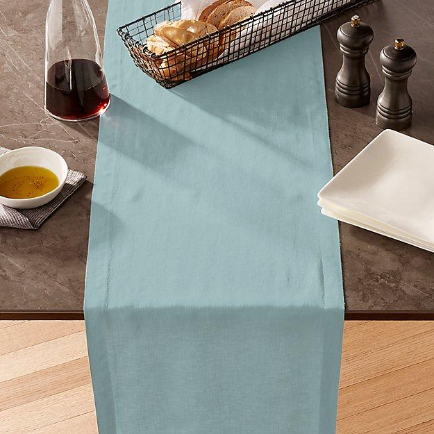 Helena Blue Mist Linen Table Runner - Image 1 of 3