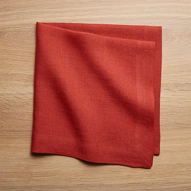 Helena Chili Red Linen Dinner Napkin