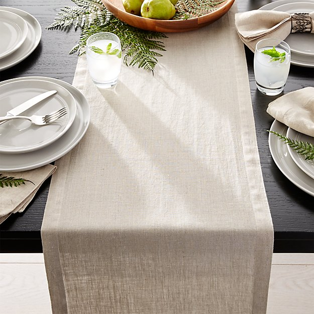 Helena Dark Natural Linen 90 Quot Table Runner Crate And Barrel