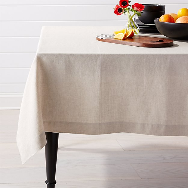 "Helena Dark Natural Linen Tablecloth 60""x60"""
