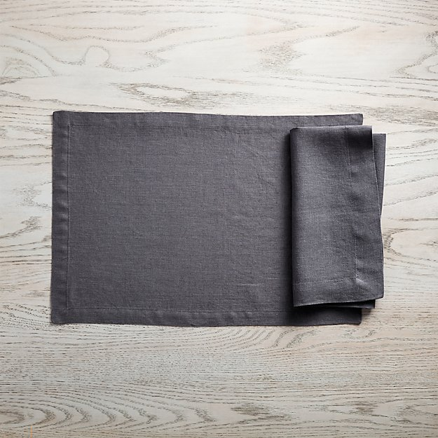 Helena Graphite Grey Linen Placemat and Napkin