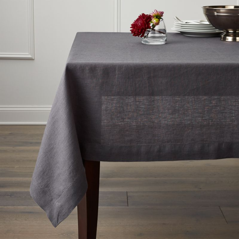 Helena Graphite Grey Linen Tablecloth Crate And Barrel