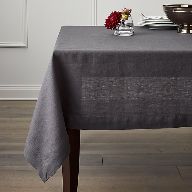 Famous Helena Graphite Grey Linen Tablecloth | Crate and Barrel SX42