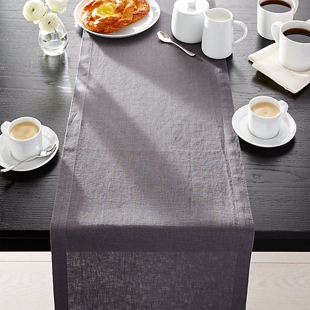 Helena Graphite Grey Linen 90 Table Runner Reviews Crate And Barrel