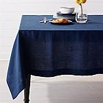 Helena Indigo Blue Linen Tablecloth 60 x90